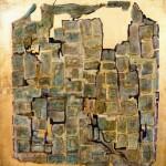 """""""WEWNĘTRZNE MIASTO - LABIRYNTY"""", akryl., szlagmetal, tlenki żelaza, 2020r., 69x69 cm (on request)"""
