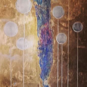 POMIĘDZY TYM, 2018, szlagmetal / akryl na desce, 105 x 36, (available)