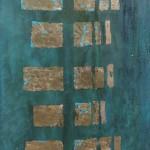 OKNA CZASU, 2019, szlagmetal / akryl na desce, 125 x 44, 5600 PLN