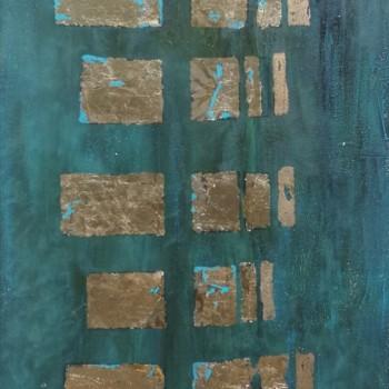 OKNA CZASU, 2019, szlagmetal / akryl na desce, 125 x 44, (available)